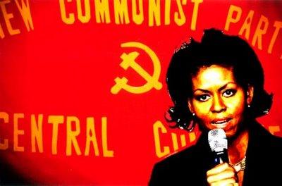 Michelle Hussein running an evil communist rally